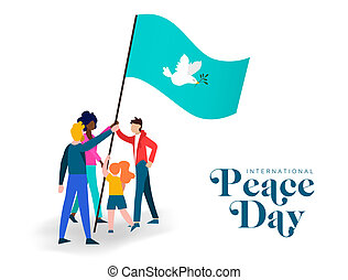 World Peace day diverse friend group teamwork
