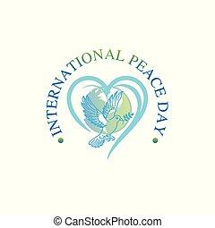 Sep 21 , international peace day. Illustration concept present peace world. Vector illustrate.