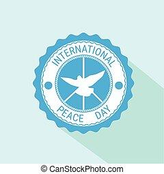 World Peace Day Icon White Dove Bird Symbol