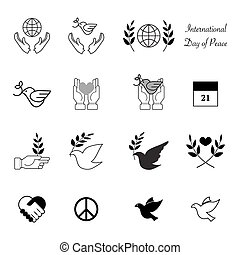 World peace day icons design