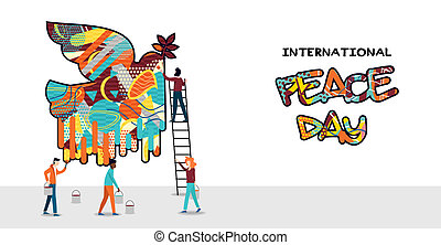International peace day card for world help and culture unity. Diverse friend group painting dove bird graffiti. EPS10 vector.