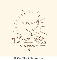 World Peace Day Poster Sketch Dove Bird Symbol