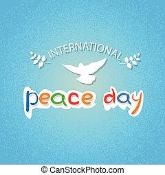World Peace Day Poster White Dove Bird Symbol