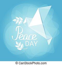 World Peace Day Poster White Origamini Dove Bird - World...