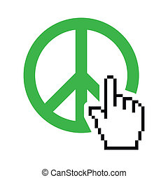 World peace green sign with cursor - Pixelated hand clicking...