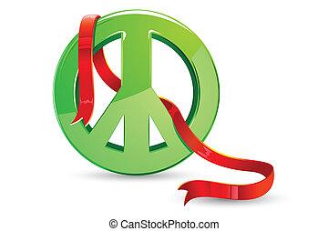 World Peace - illustration of ribbon around peace sign on...