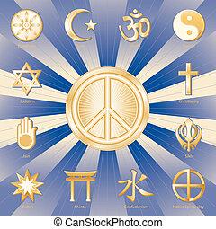 World Peace, Many Faiths - Gold symbols of 12 world ...