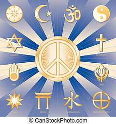 World Peace, Many Faiths - Gold symbols of 12 world...