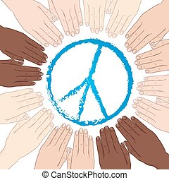 World peace vector - Vector illustration human hands with...