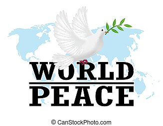 world peace with white pigeon on a world map