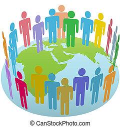 Population of Earth people meet in a world circle on a globe Eastern Hemisphere