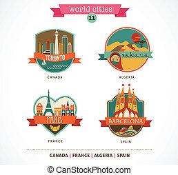 World Cities labels and symbols - Paris, Toronto, Barcelona, Sahara - 11