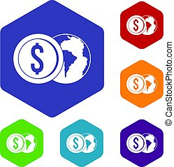 World planet and dollar coin icons set hexagon