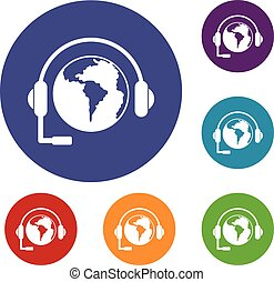 World planet and headset icons set