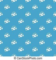 World planet and headset pattern seamless blue