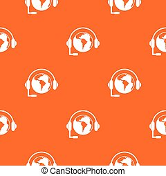 World planet and headset pattern seamless