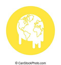 world planet earth melting icon