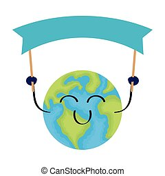 world planet earth smiling face with banner