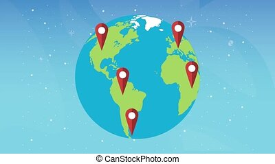 world planet earth travel and pins locations animation ,4k ...
