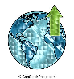 world planet earth with arrow up