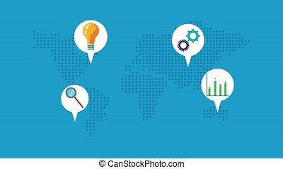 world planet earth with business set icons animation