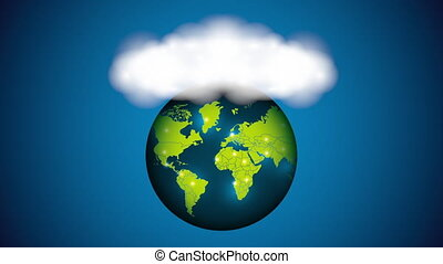world planet earth with clouds