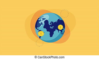 world planet earth with coins dollars