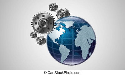 world planet earth with gears