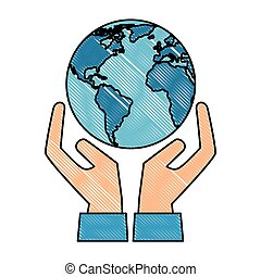 world planet earth with hands protection