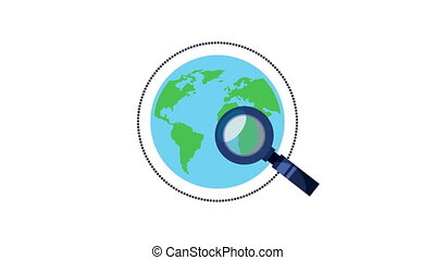 world planet earth with magnifying glass