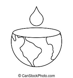 world planet earth with water drop day icon