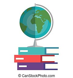 world planet map and books education icons