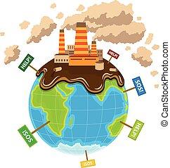 World planet pollution ecocatastrophe. Eps10 vector...