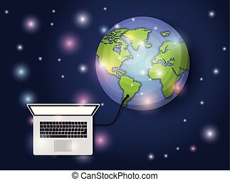 world planet with computer laptop connection