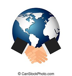 world planet with handshake icon