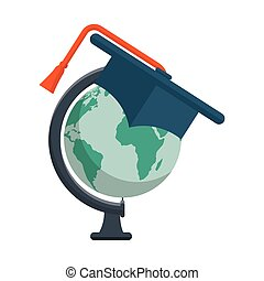 world planet with hat graduation school supply vector...