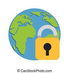world planet with padlock