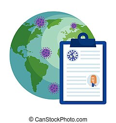 world planet with particles covid 19 and clipboard