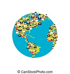 world planet with people