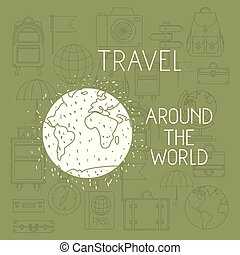 world planet with set travel icons