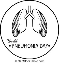 World pneumonia day black and white isolated logo
