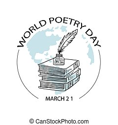 World Poetry Day, poster concept. March 21.