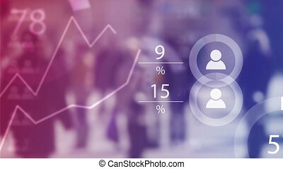 World Population Data Presentation Concept with Blur People...