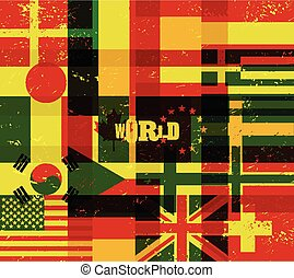 World poster with flags.