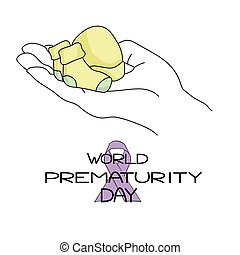 World Prematurity Day, Very small socks, a hat on a large open palm, themed inscription and a colored ribbon, vector illustration for design