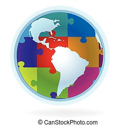 World puzzle map logo