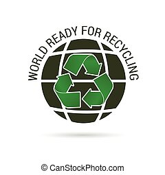 world ready for recycling icon illustration