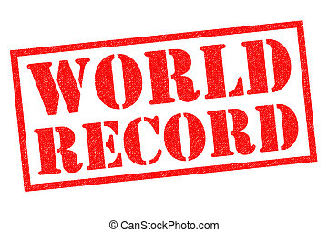 WORLD RECORD red Rubber Stamp over a white background.