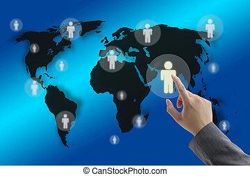 World Recruitment - Businessman hand touching virtual screen...