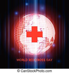World Red Cross Day: Earth digitally generated image and red...